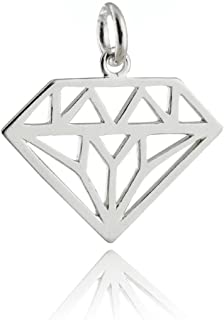 Diamond Shape Outline Charm - 925 Sterling Silver Open Filigree Love NEW Jewelry Making Supply, Pendant, Charms, Bracelet, DIY Crafting by Wholesale Charms