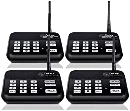 Wireless Intercom System (New Version), TekeyTBox 1800 Feet Long Range 10 Channel Digital FM Wireless Intercom System for Home and Office, Walkie Talkie System for Outdoor Activity (4 Stations Black)