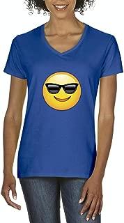 Xekia Emoji With Sunglasses Women's V-Neck T-Shirt Tee
