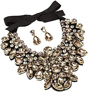 Women Statement Big Crystal Necklace Chunky Earrings Set Wedding Fashion Jewelry for Women 3 Colors 1 Set