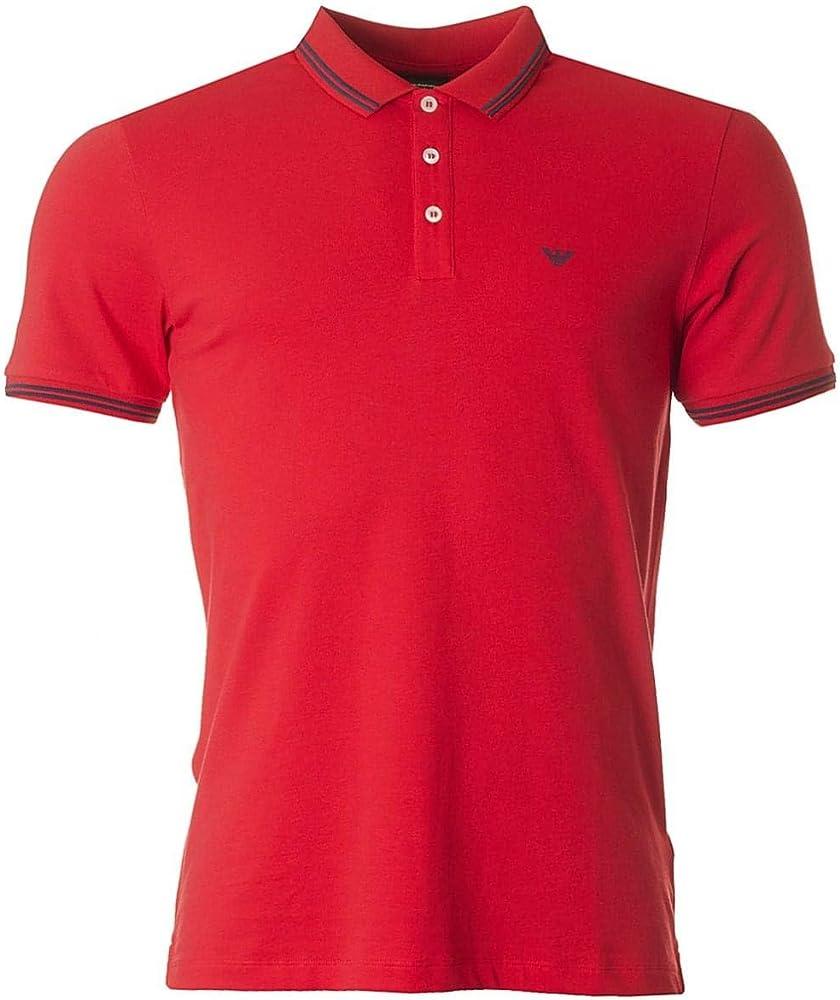 Emporio armani, polo da uomo, maglietta a maniche corte, 100% cotone, rossa