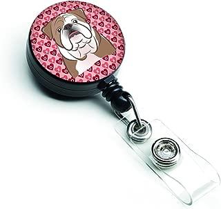 Caroline's Treasures English Bulldog Hearts Retractable Badge Reel, Multicolor (BB5289BR)