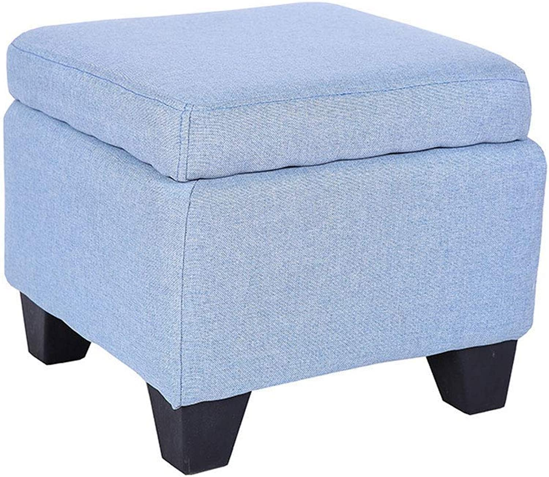 Storage Stool Storage Stool Soft Bag Sofa Family Fabric Sofa Stool GMING (color   bluee)