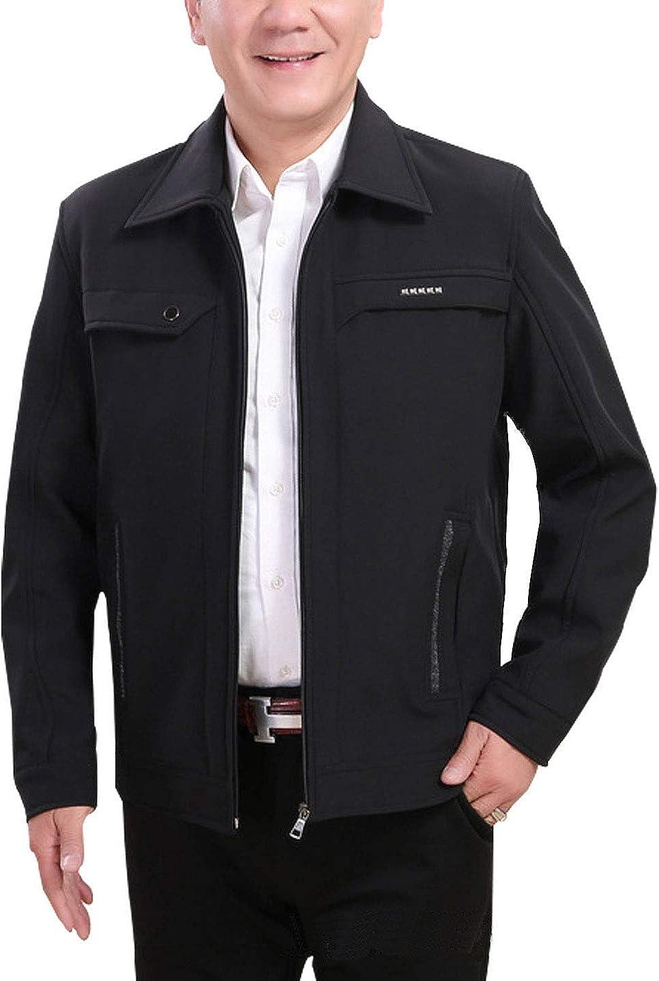 Omoone Men's Long Sleeves Solid Fleece Lined Cotton Jacket Outwear