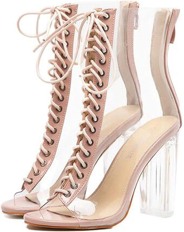 Women Pumps Gladiator Sandals PVC Clear Block High Heel Transparent Boots High Top Pumps Perspex