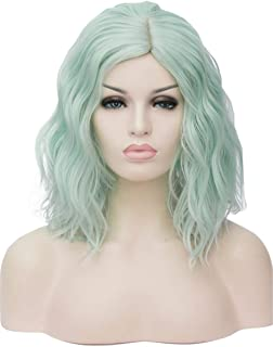 TopWigy Mint Green Cosplay Wig Medium Length Curly Body Wave Colorful Heat Resistant Hair Wigs Costume Party Bob Wig (Mint Green 14