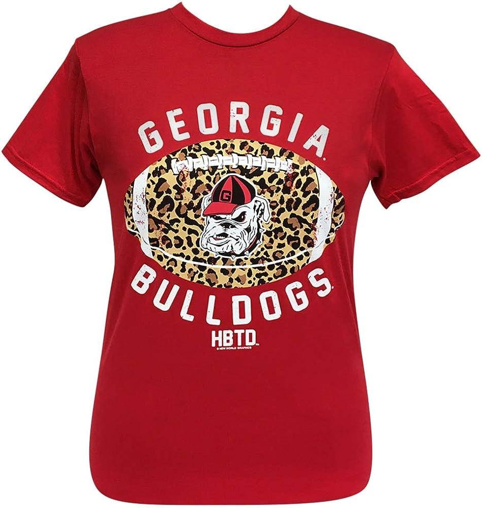 Girlie Girl Originals Georgia Leopard Football Red Short Sleeve t-Shirt