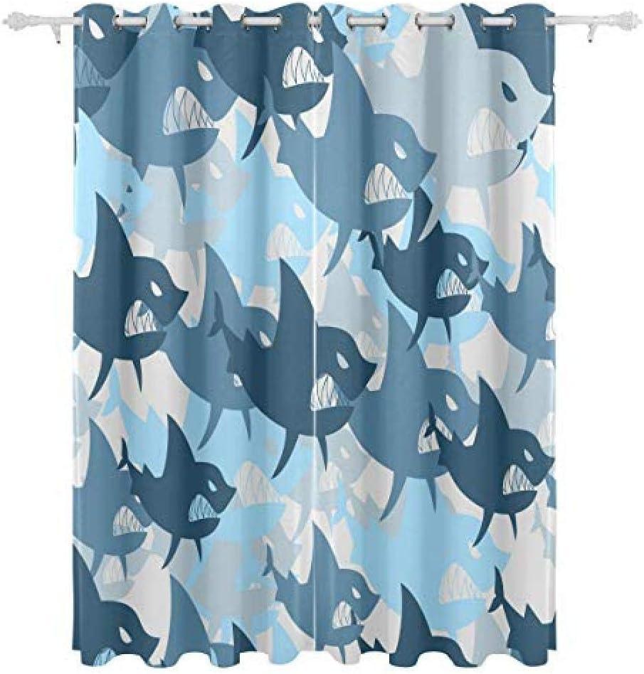 FFFSSS 3D Jacksonville Mall Eyelet Jacksonville Mall Curtain Shark Polyester Curtains Ki Blackout