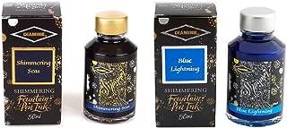 Diamine Fountain Pen Ink 50ml - Shimmering Sea & Blue Lightning - 2 Pack