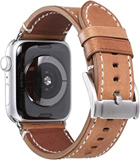 457d68cf9 Compatible/Replacement for Apple Watch Strap 38mm 40mm 42mm 44mm iStrap  Genuine Leather Silver Classic