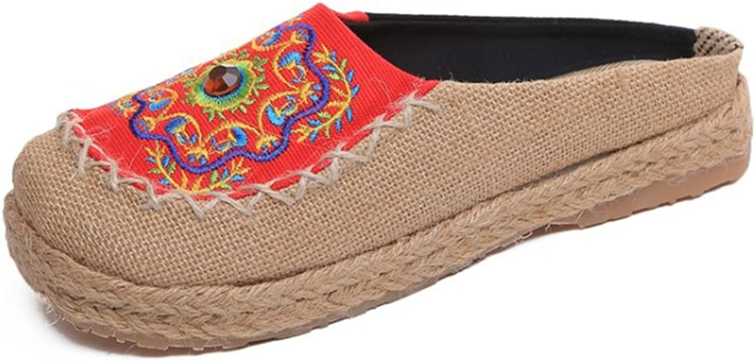 Super frist Womens Embroidery Weave Casual Slip on Pumps shoes