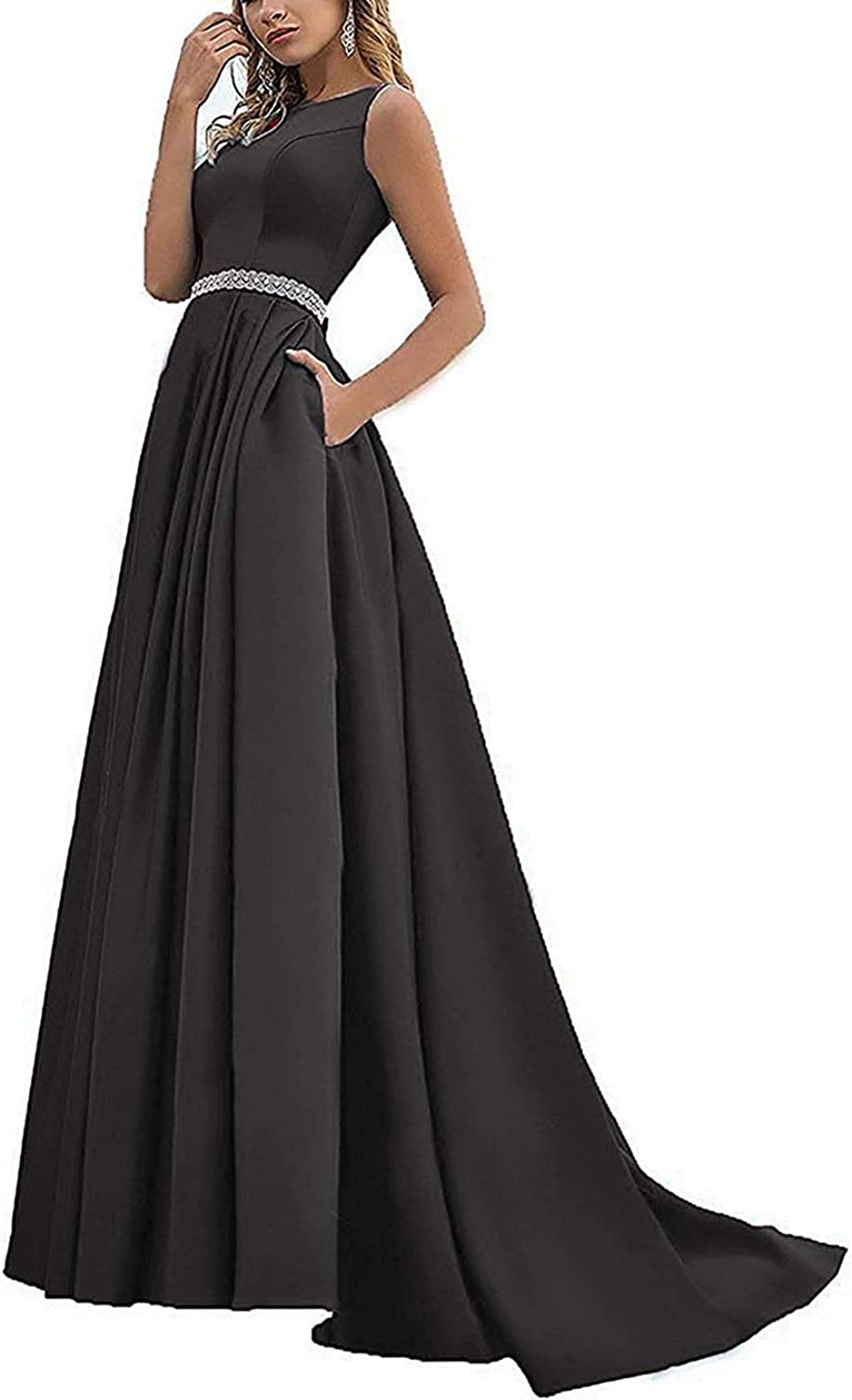 Beaded Satin Prom Dresses Long with Pockets Jewel Neckline Princess Ball Gown