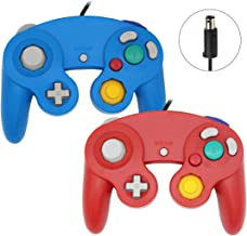 Sp full 2 Packs Classic Wired Gamepad Controllers Compatible with Wii Gamecube Console (Blue and Red)