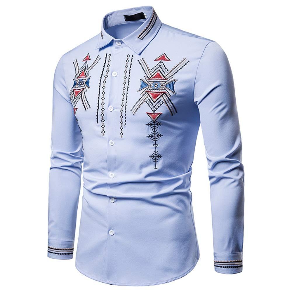 Cvbndfe Camisa de Vestir para Hombre Hombres Hipster Bordado Slim Fit Tops Cuello de la Solapa de Manga Larga con Botones Abajo Camisa de Caballero (Color : Azul, tamaño : Metro): Amazon.es: