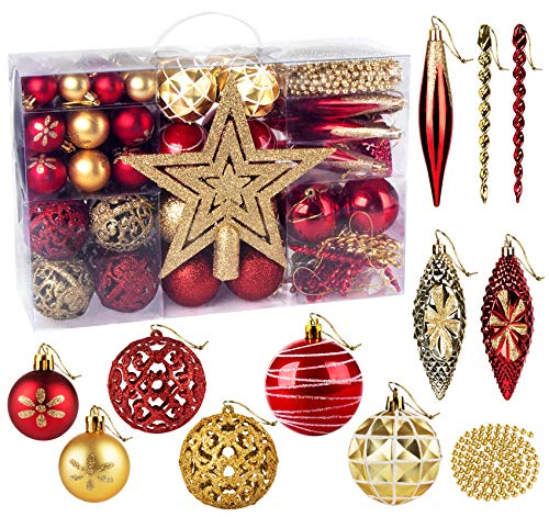 Lemonfilter 102 Pack Christmas Ball Ornaments Red and Gold Shatterproof Christmas Decorations Christmas Tree Ball Ornaments for Christmas Tree Party Decoration (1.18'' & 1.57'' & 2.36'')