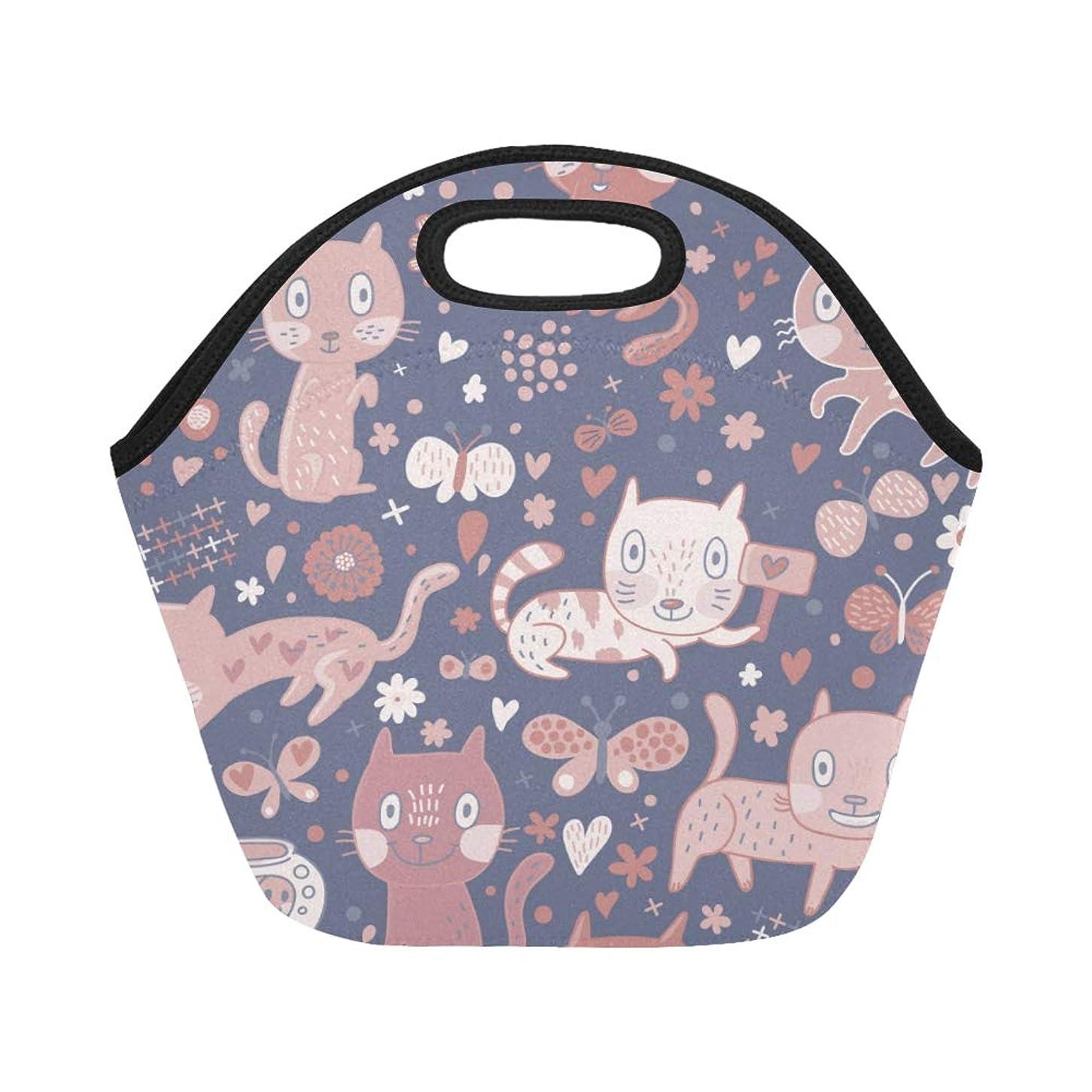 告白才能臨検DMHYJ ランチバッグ 小柄の猫やきれいな蝶 弁当袋 お弁当入れ 保温保冷 トート 弁当バッグ 大容量 トートバッグ