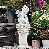 Cakunmik Kreativer Engel Skulptur, Gartendekoration Kleiner Engel römische Säule Statue Engel Garten Home Vintage Dekoration Zubehör Gartenvilla Skulptur im Freien Dekoration