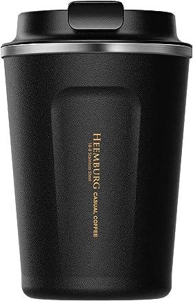 Heemburg Kaffeebecher für unterwegs Coffee to go Thermobecher schwarz 380 ml aus Edelstahl mit Doppelwand Isolierung 100% auslaufsicher Thermo für Kaffee oder Tee (Schwarz, 380ml) preisvergleich bei geschirr-verleih.eu