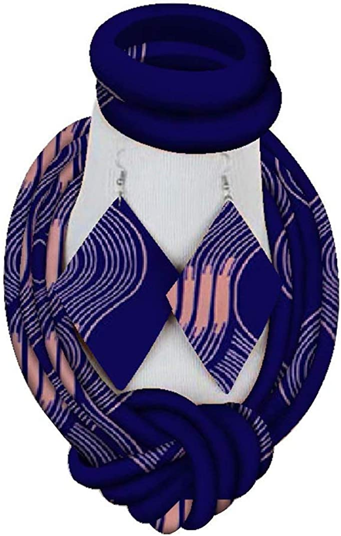 AFRICSTYLE African Jewelry Set Ankara Print Necklaces with Matching Earrings for Women