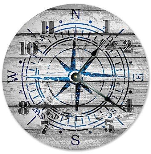 HSSS Vintage Windrose Kompass Clipart Holz Design Uhr Dekorative Runde Holz-Wanduhr – 30,5 cm