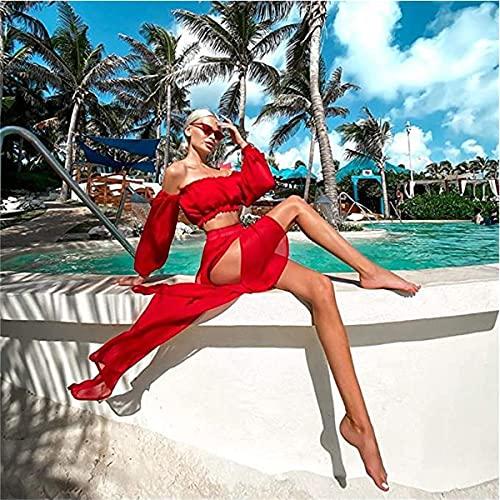 L&ieserram Womens Bikini Cover ups Set de ropa 2 piezas Sexy Mesh Off Hombro Crop Top Camisas + Falda larga Sarong Divisa ver a través de vestidos de verano de playa, rojo, Talla única