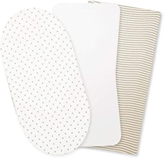 ORGANICKID Bassinet Sheets Fitted GOTS Certified Organic Cotton Non-Distracting Design Pack of 3