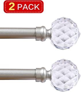 Turquoize 3/4 Inch Curtain Rods with Crystal Diamond Acrylic Finial Window Treatment Rod Set Decorative 5/8