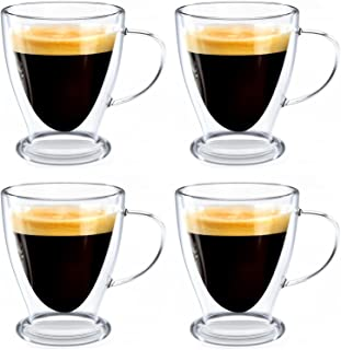 Jucoan 4 Pack Insulated Glass Espresso Mugs, 10 oz Double Wall Glass Coffee Cups, Tea Cup with Handle for Latte, American...