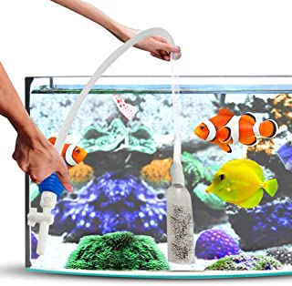 SunGrow Betta Water Change Siphon, Facilitate Smooth Water Change, Acrylic Hard Pipe with Flexible Air Tube, Squeeze Operation Bulb and Suction Cups Included