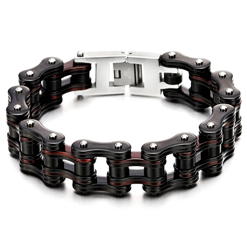 COOLSTEELANDBEYOND Masculine Mens Bike Chain Bracelet of Stainless Steel Two-Tone Polished