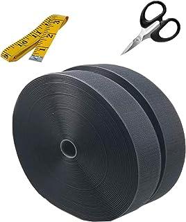Black Colour Hook and Loop 25mm x 1 mtrs -with Tailoring Tape + Easy Grip Scissor (Hook & Loop- Width 1 Inch)
