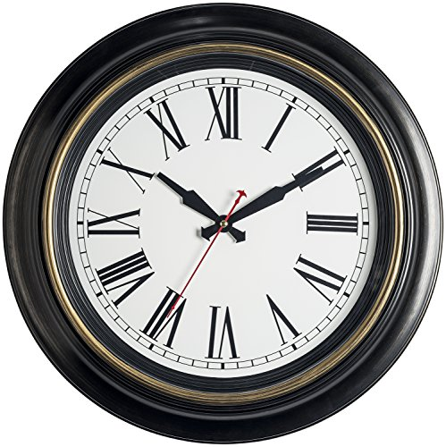 Bernhard Products Large Wall Clock 18 Inch Quality Quartz Silent Non Ticking, Battery Operated for Home/Living Room/Over Fireplace Beautiful Decorative Timeless Roman Numeral Stylish Clock, Dark Brown