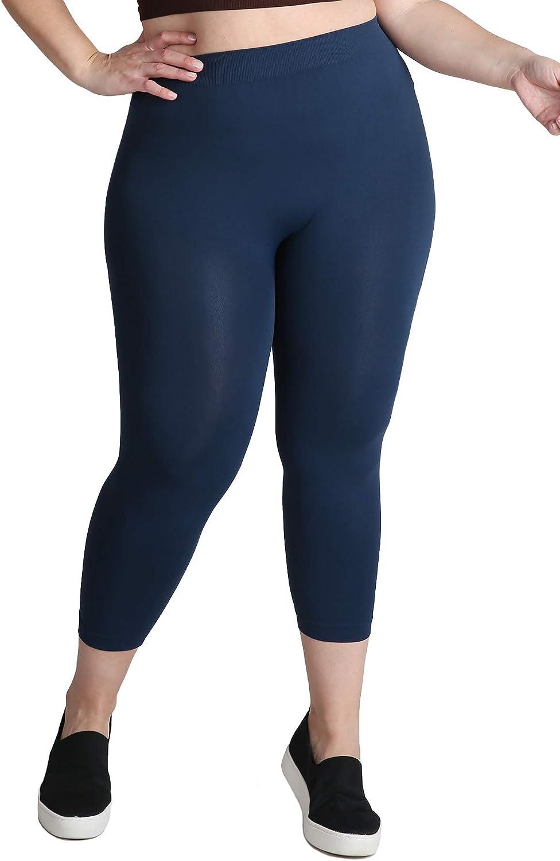 NIKIBIKI Women Seamless Basic Capri Legging Tights, Made in U.S.A, Plus Size