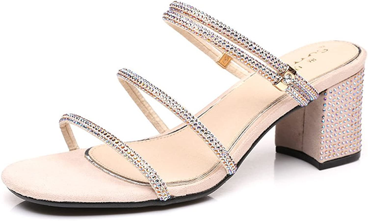 WANGXIAOLIN Summer Women's Sandals Two Wear Rhinestone Buckle Female Coarse With Sandals ( color   Nude , Size   35 )