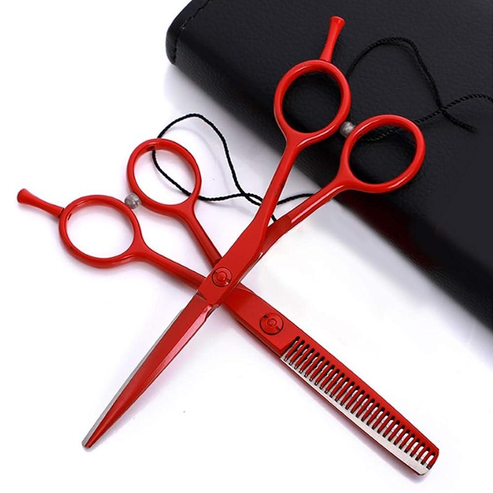 横向き円形の余分な色塗装理髪用ハサミ5.5インチ - はさみ髪プロのはさみキットフラットはさみ/歯はさみ ヘアケア (色 : Red flat+tooth suit)