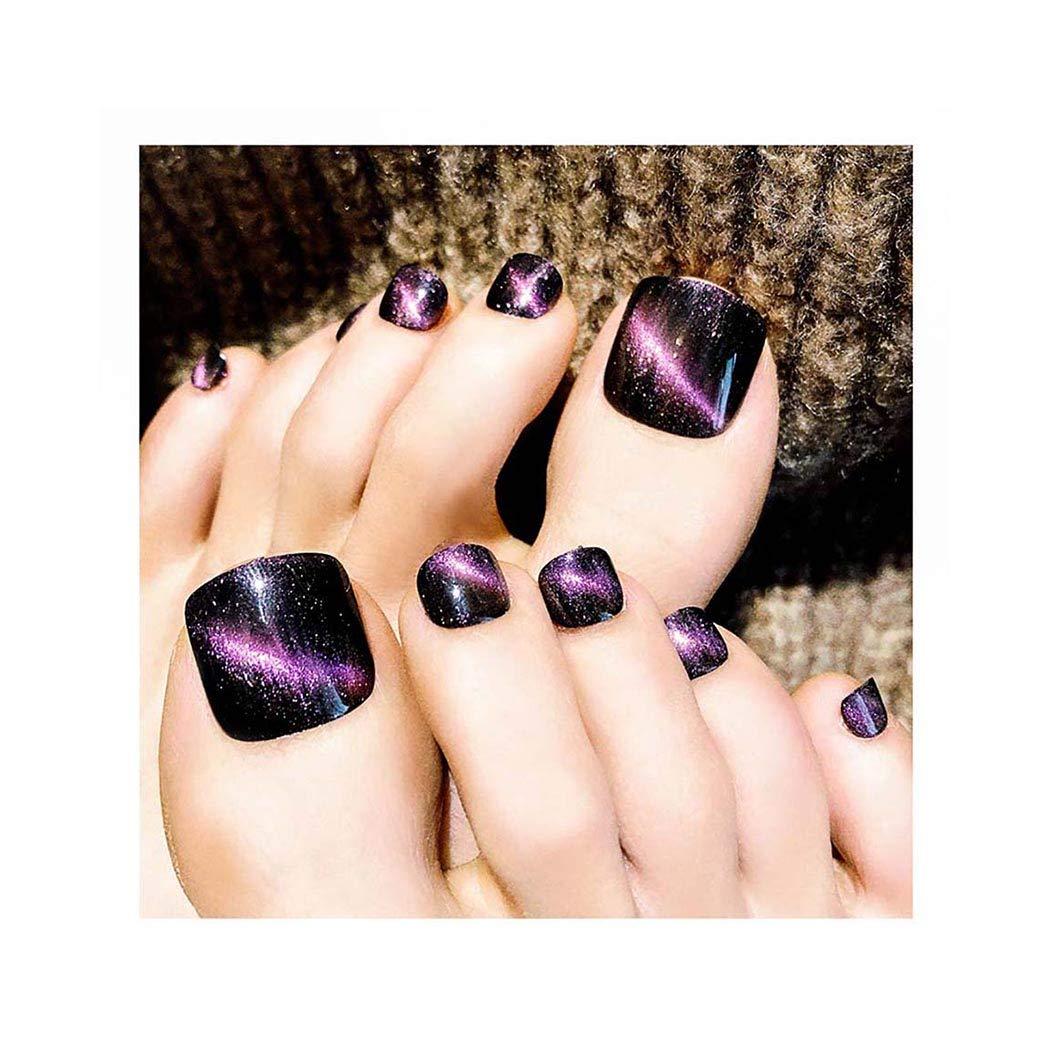 Yokawe 24Pcs Cat Eyes False Toe Nails Our shop OFFers the best service Purple Cover Full Acrylic Cheap bargain