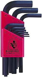 Bondhus 12299 Set of 9 Hex L-wrenches, Short Length, sizes 1.5-10mm