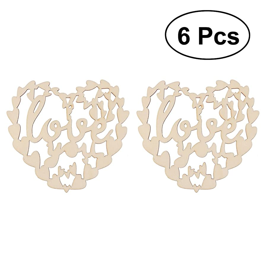 Tinksky Wooden Hollow Heart Cutout Veneers Slices Crafts Embellishment For DIY Crafting Christmas Tree Hanging Ornament Decoration Pendants With String For Valentine's Day Wedding Party Decor 6PCS