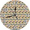 掛時計 壁掛け時計 アナログ クロック インテリア 円形 静音 可愛い-カラフルな花のモチーフに丸い斑点ボヘミアンオリエンタルオーナメントタイダイプリント 連続秒針 デジタル ウォールクロック おしゃれ デジタル時計 直径25cm