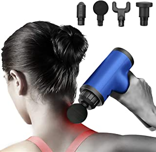 Portable Massage Device Helps Relieve Muscle Soreness and Stiffness, Massage Gun Deep Tissue Percussion, Handheld Button Quiet Electric Body Massager with 4 Massage Heads (Blue-4 Heads)