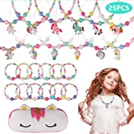 BAOQISHAN 25PCS Girls Beaded Unicorn Necklace and Bracelet Toddler Costume Jewelry Set Jewelry...