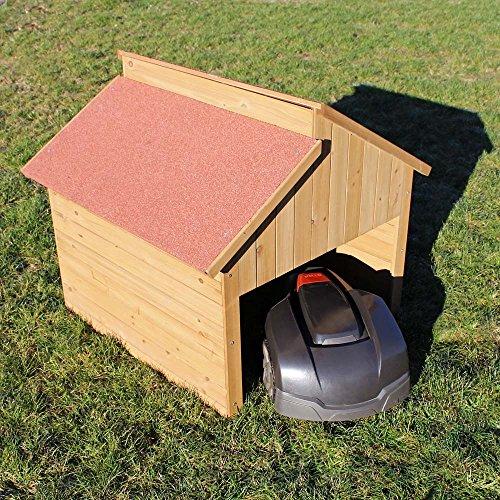 Wiltec Garage für Mährobotor aus Holz für alle gängigen Rasenroboter - 5