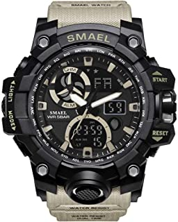 Men's Military Watch, LED Display Digital Watch Sports Watches Multifunctional Large Wrist Watches - Beige