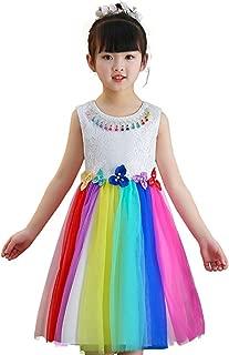 Little Big Girl Rainbow Flower Princess Dress Birthday Party Colorful Tutu Dress
