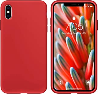 Case foriPhone X/iPhone Xs case Liquid Silicone Gel Rubber Phone Case, iPhone X/iPhone Xs 5.8 Inch Shockproof Full Body Slim Soft Microfiber Lining Protective Case(RED)