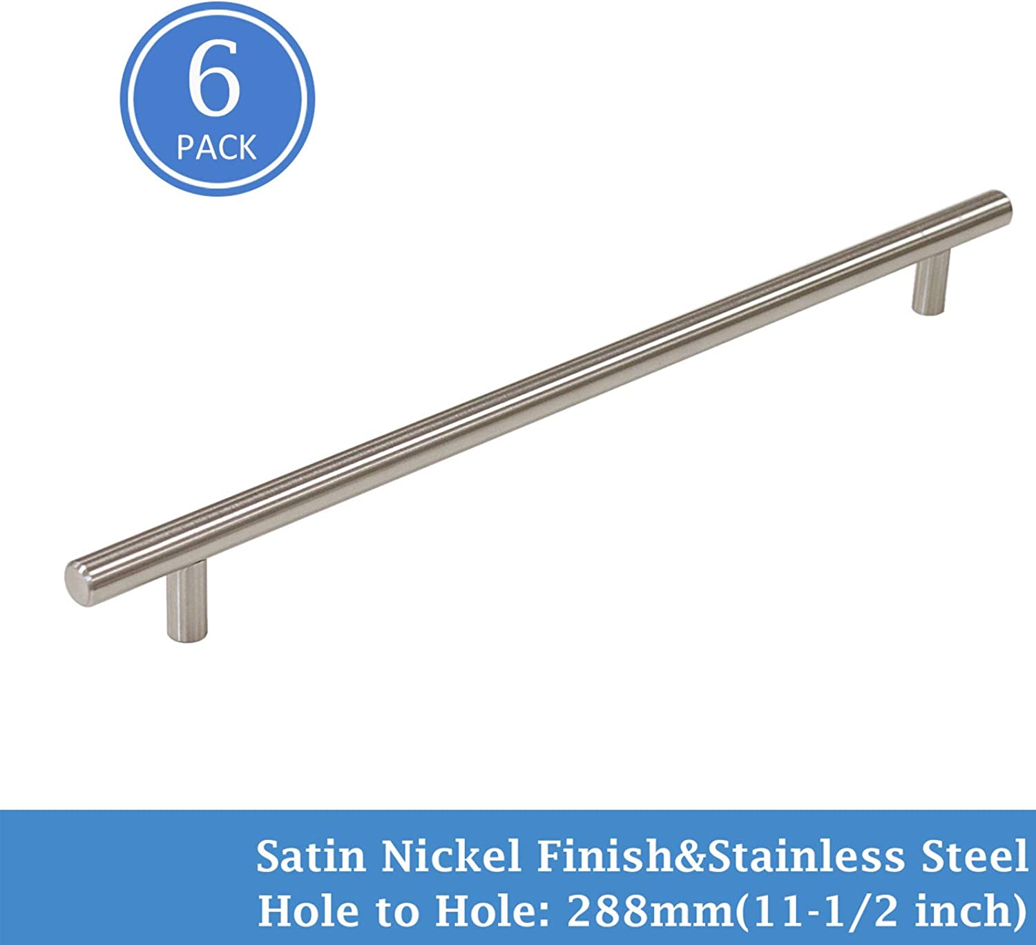 11-1 2  Hole Spacing Satin Nickel Finish T Bar Cabinet Pulls Stainless Steel Kitchen Cupboard Modern Style Handles, 6 Pack