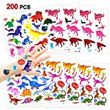 Konsait 216 Pcs Dinosaurier Temporäre Tattoos Set, Dino Kindertattoos Sticker Aufkleber für...