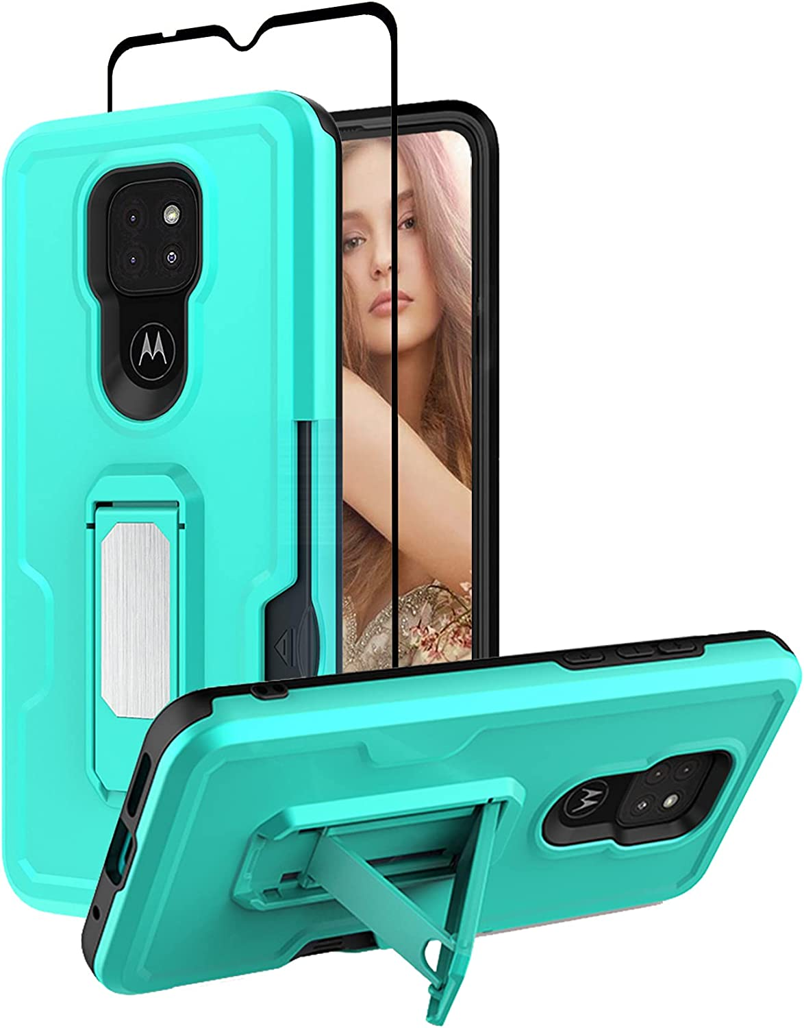 Starhemei for Moto G Play 2021 Case with Tempered Glass Screen Protector, Double Layer Armor with Kickstand Shock-Absorbing & Card Slot Phone Case for Motorola Moto G Play 2021 (MintGreen)