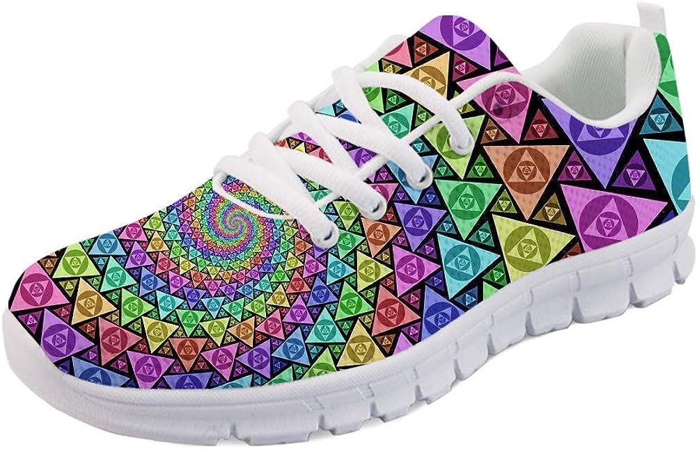 HUGS IDEA Rainbow Colors Plaid Selling rankings Fashio Road Running Women's Shoes Wholesale