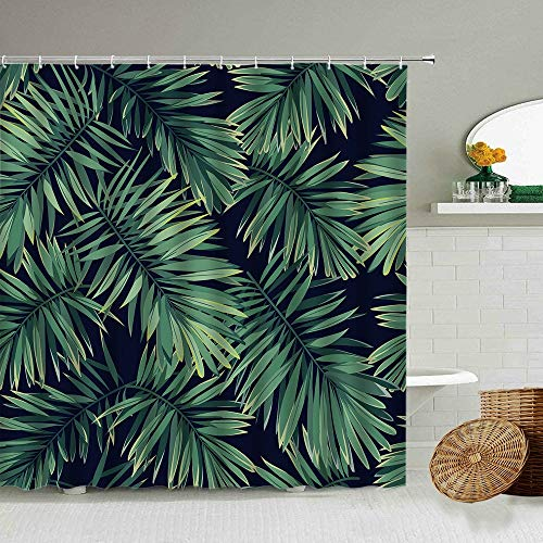 XCBN Cortina de Ducha de Planta Verde Tropical Palma Tung Hoja de Tortuga Fondo Negro Cortinas de Tela Impermeables para baño A7 180x180cm
